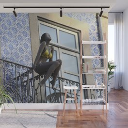 Mannequin sunbathing at the balcony Wall Mural