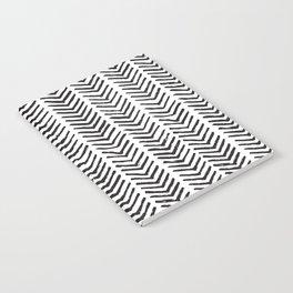 Black and white brush painted chevron Notebook