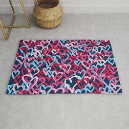 Colorful  Hearts - Graffiti Style Rug