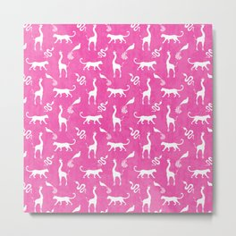 Animal kingdom. White silhouettes of wild animals. African giraffes, leopards, cheetahs. snakes, exotic tropical birds. Tribal primitive ethnic nature pink grunge distressed pattern. Metal Print