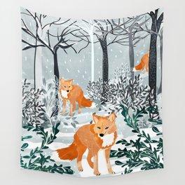 Fox Snow Walk Wall Tapestry