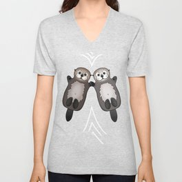 Otters Holding Hands - Otter Couple Unisex V-Neck