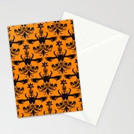 The Flying Black Cat Spell   damask    orange pumpkin Stationery Cards