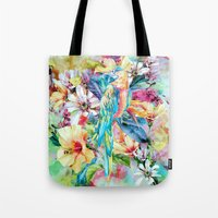 parrot Tote Bags featuring PARROT by RIZA PEKER