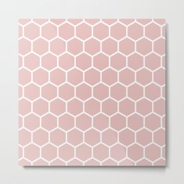 White and neutral beige honeycomb pattern Metal Print