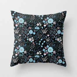 Star Sapphire Floral Celebration Blue on Black Throw Pillow