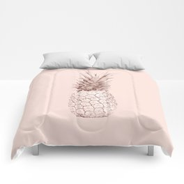 Rose Gold Pineapple on Blush Pink Comforters