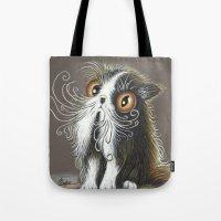 persian Tote Bags featuring Persian Cat by menekse cam