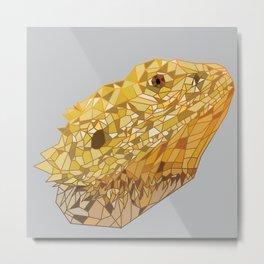 Geometric Bearded Dragon Metal Print