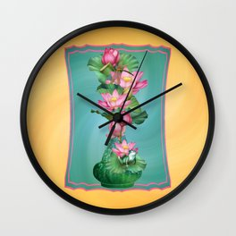 Spring Lotus Genie Bottle Wall Clock