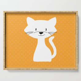 Yellow white cat Serving Tray