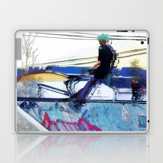 Hanging On  -  Stunt Scooter Artwork Laptop & iPad Skin