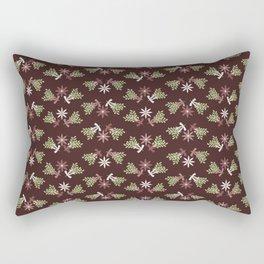 Vintage Christmas Floral Rectangular Pillow