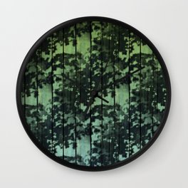 Leaf Shadows on Deck - green2turquoise Wall Clock