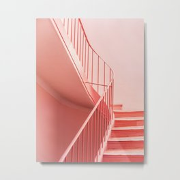 Pink steps | Pastel colored staircase in Cannes France | Travel architecture photography Metal Print