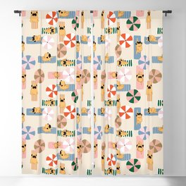Pug Beach Yoga Blackout Curtain