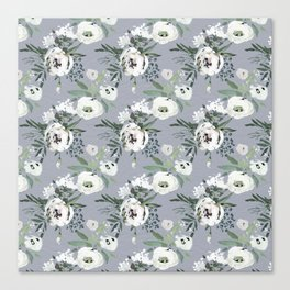 Hand painted modern gray white watercolor floral Canvas Print