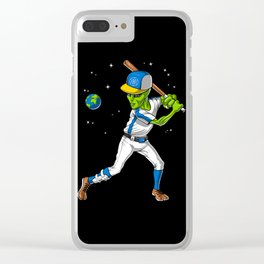 Alien Baseball Player Clear iPhone Case