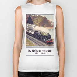 100 Years of Progress, 1835-1935. GWR Vintage Travel Poster Biker Tank