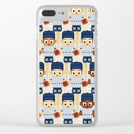 Baseball Pinstripes White and Blue - Super Cute Sports Stars Clear iPhone Case