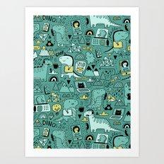 Communication Dinosaurs Art Print