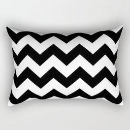 BLACK AND WHITE CHEVRON PATTERN - THICK LINED ZIG ZAG Rectangular Pillow