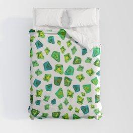Green beautiful hand drawn gems. Duvet Cover