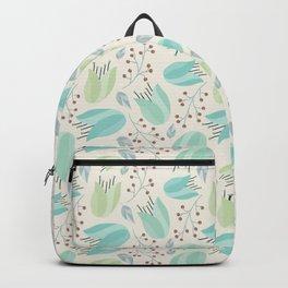 Ivory mint teal modern floral berries illustration Backpack