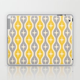 Mid century Modern Bulbous Star Pattern Yellow and Gray Laptop & iPad Skin