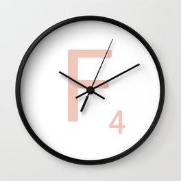 Pink Scrabble Letter F - Scrabble Tile Art Wall Clock