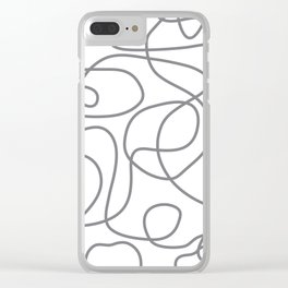 Doodle Line Art | Gray Lines on White Clear iPhone Case