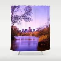 central park Shower Curtains featuring Central Park by Anna Andretta
