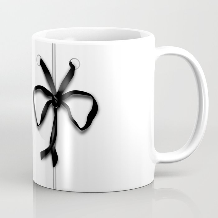 Laced Black Ribbon on White Coffee Mug