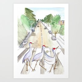 Abbey Cranes Art Print