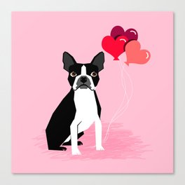 Boston Terrier dog lover valentines day heart balloons must have gifts for Boston Terriers Canvas Print
