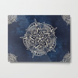 Cream and navy mandala on indigo ink Metal Print