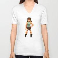 tomb raider V-neck T-shirts featuring Retro Raider by Daniel