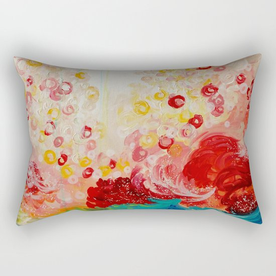 SUMMER DAYS Feminine Pretty Pink Red Peach Abstract Acrylic Painting Whismical Nature Color Splash Rectangular Pillow