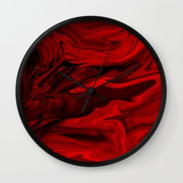 Blood Red Marble Wall Clock