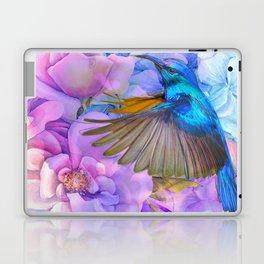 Alcohol ink modern flowers and hummingbird Laptop & iPad Skin