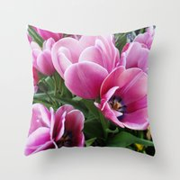 tulips Throw Pillows featuring tulips by Liudvika's Lens