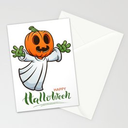 Drawn Ghosts And Pumpkins Set, Happy Halloween, Design No 03 Stationery Cards