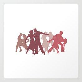 Latin Dancers Illustration Art Print