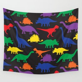Dinosaurs - Black Wall Tapestry