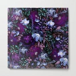Deep Floral Chaos blue & violet Metal Print