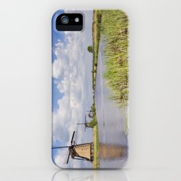 Traditional Dutch windmills on a sunny day at the Kinderdijk iPhone Case