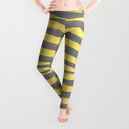 Yellow & Gray Stripes Leggings