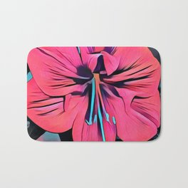 Tropical Clivia Flower in Pop Art Bath Mat