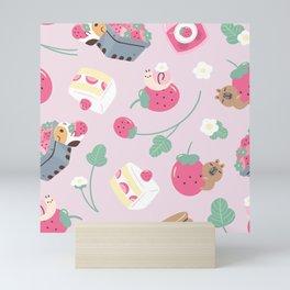 Bubu and Moonch, Guinea pig and Capybara Strawberry Season Pattern Mini Art Print