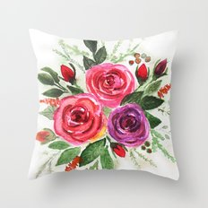 Watercolor floral pattern . Roses. Throw Pillow